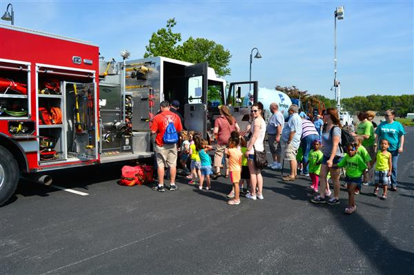 Families attending vehicle day