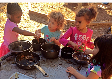 "Chldren pretending to make outdoor ""soup"" with items found in nature."
