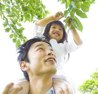 Father and child looking at leaves on tree