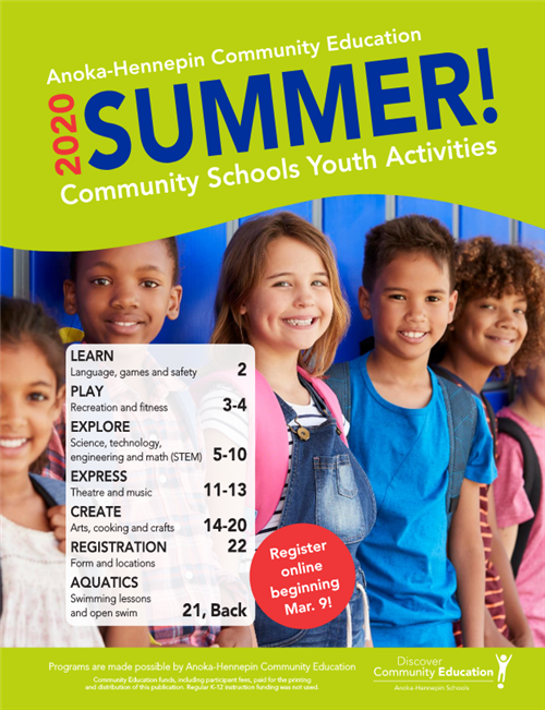 Community Education summer catalog, activities for youth