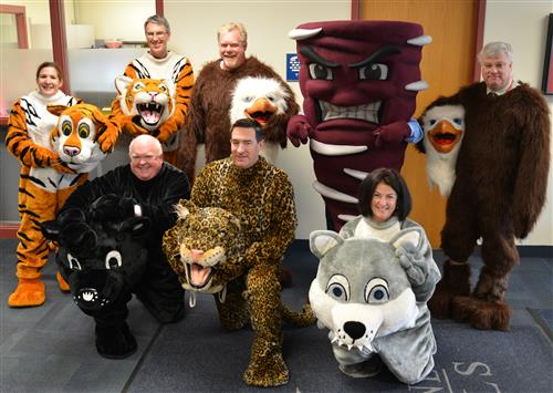 admins wearing mascots