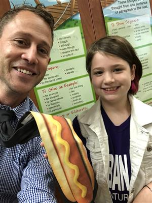 Mr. Zachmann with his hot dog tie.