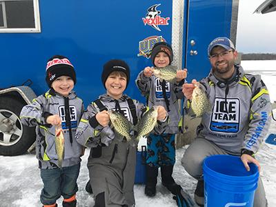 Matt Johnson on a family ice fishing outing