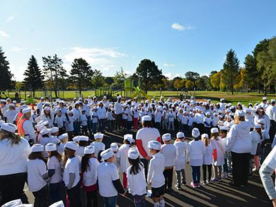 Students at Monroe Elementary school attempt to set a world record on Oct. 14
