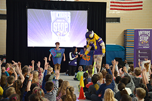 Viktor the Viking visited Morris Bye to talk to kids about bullying