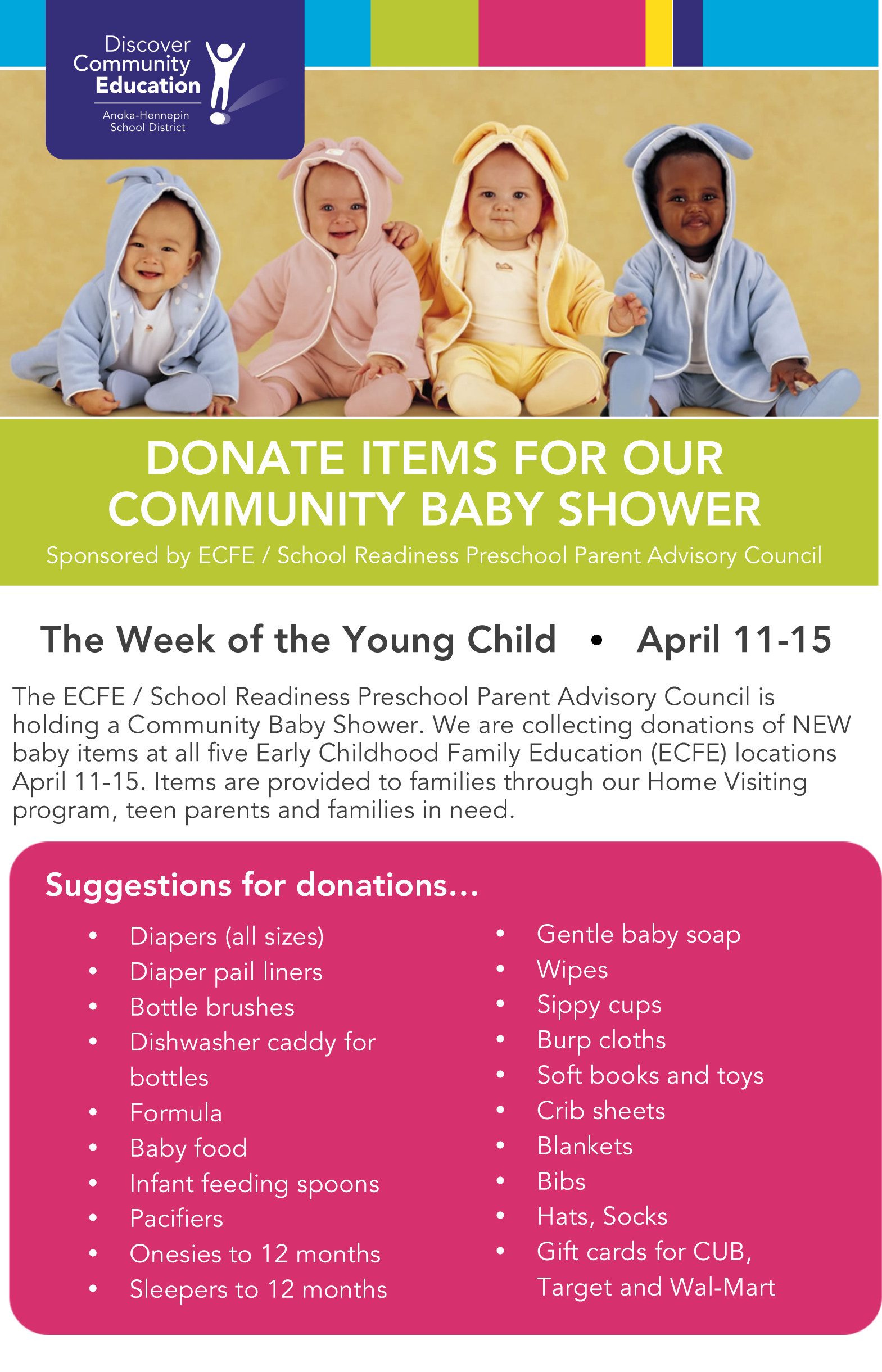 Donate Items For Our Community Baby Shower