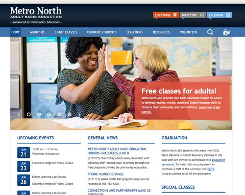 Metro North ABE website homepage