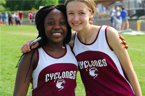 Two girls at track meet