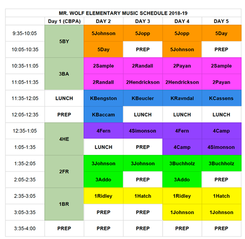 Mr. Wolf's Music Schedule