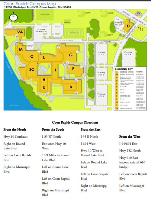 STEM Fair / Campus Map and Directions to Anoka Ramsey Community