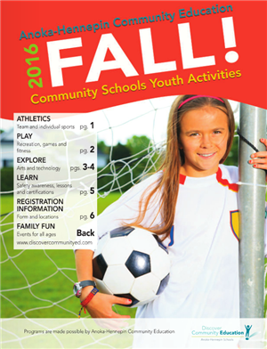 Youth classes and activities, fall 2016 catalog